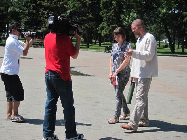 Телеканал АИСТ во время съёмок репортажа